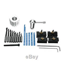 19Pcs Mini Quick Changes Tool Post Holder Set + 3/8 Inch Boring Bar + Indexable