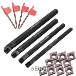 4 Set Of 7/8/10/12Mm Sclcr Lathe Boring Bar Tool Holder+10Pcs Ccmt 0602 InsK6N8