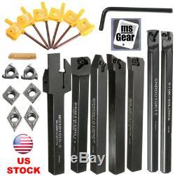 7pcs 10mm Lathe Boring Bar Turning Tool Holder + 7pcs Carbide Inserts + Wrenches