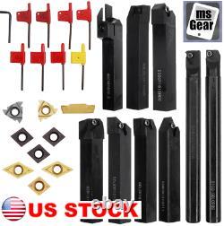 9pcs 16mm Lathe Boring Bar Turning Tool Holder + 9Pcs Carbide Inserts + Wrenches