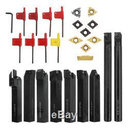 Drillpro 9pcs 16mm Shank Lathe Boring Bar Turning Tool Holder Set With Carbide