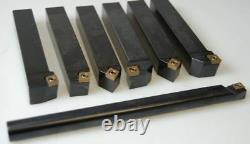 Indexable Lathe Tool Holder 7 Pcs Set 16mm + Boring Bar Ccmt Carbide Inserts