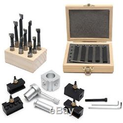 Mini Quick Change Tool Post Holder Set With 9pcs 3/8 Boring Bar and 5pcs Indexab