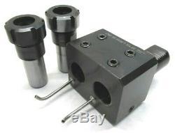 NICE! GLOBAL CNC VDI 40 DOUBLE OFFSET BORING BAR HOLDER with 2 ER32 COLLET CHUCKS