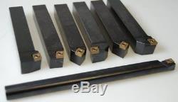 New Lathe Turning Tool Holder 7 Pcs Set 16mm + Boring Bar Ccmt Inserts Sclcr
