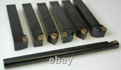 New Lathe Turning Tool Holder 7 Pcs Set 20mm + Boring Bar Ccmt Inserts Sclcr