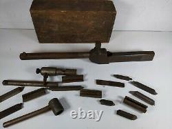 Vtg 1925 Hallstrom Straight Boring Bar Tool Holder Set f/South Bend Atlas Lathe