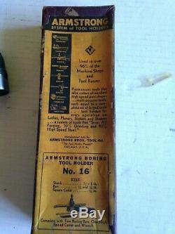 Vtg Armstrong Tool Boring Tool Holder No. 16 Bar Wrench Threading S-51 Tool Lathe